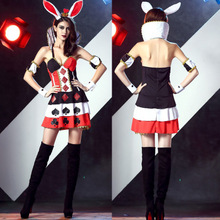 Rabbit Cosplay Women Costumer Dress Sexy Bunny Girl Poker Printing Outfit  Best Sell 1988711c4917