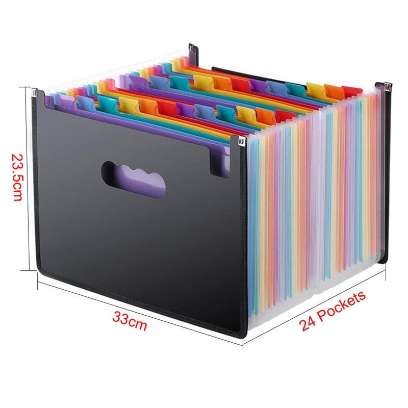 Colorful 24 Pockets Expanding File Folder A4 Organizer Portable Document Holder  3