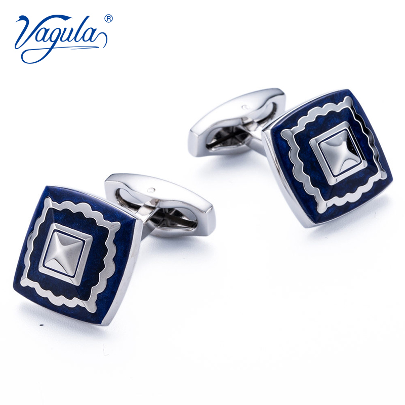 VAGULA Cuff Links AAA Quality French Shirt Button Gemelos Blue Enamel Cufflinks Men Jewelry 172