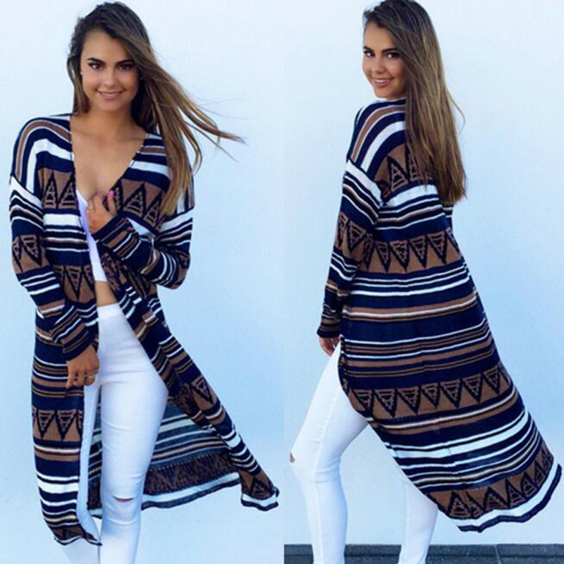 Cardigans Women 2018 New Fashion Irregular Geometric Printed Cardigan Crochet Knitted Loose Aztec Casual Jacket Coat Sweaters como vestir con sueter mujer