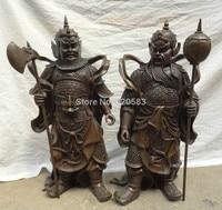 22 Chinese Pure Bronze Men Door God Guards Temple Gate General Statue Pair