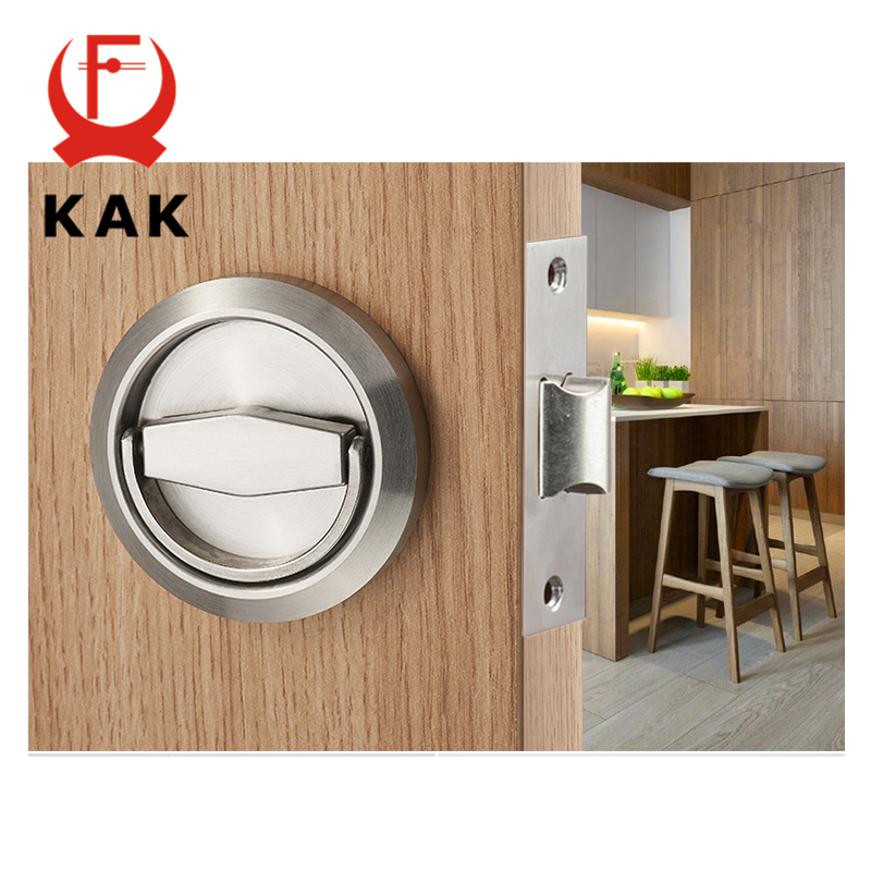 KAK Hidden Door Locks Stainless Steel Handle Kitchen Bedroom Invisible Pulls Mechanical Outdoor Lock For Fire Proof Hardware