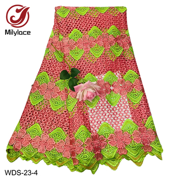 Milylace African guipure lace fabric multi-color bow embroidery lace fabric with stones 5 yards for party daily dresses WDS-23