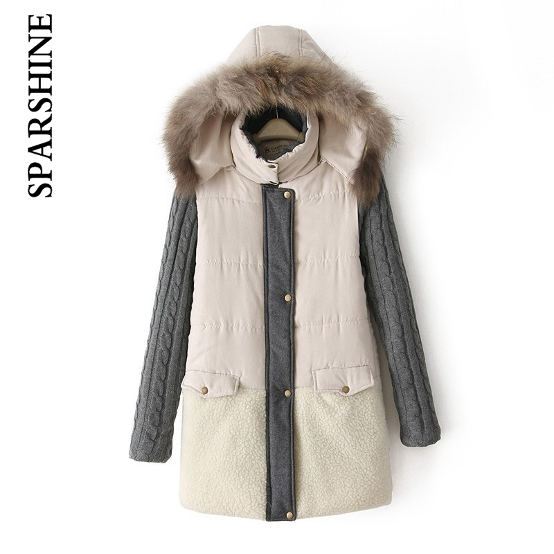 ФОТО 2016 winter jacket women New European and American Big Raccoon Fur Collar Coat Stitching Long Section of Thick Padded Coats