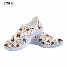 FORUDESIGNS Casual Shoes Flats Women Summer Sneakers Cute Pug Dog Pattern Women's Light Mesh Slip-on Shoes Woman Breathable Mesh forudesigns light comfortable mesh shoes for women flats breathable mesh shoes woman pretty leaf printed women s sneakers mujer