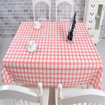 Free Shipping 137cm width blue red plaid   Golden colour Cheap PVC tablecloth water oil proof