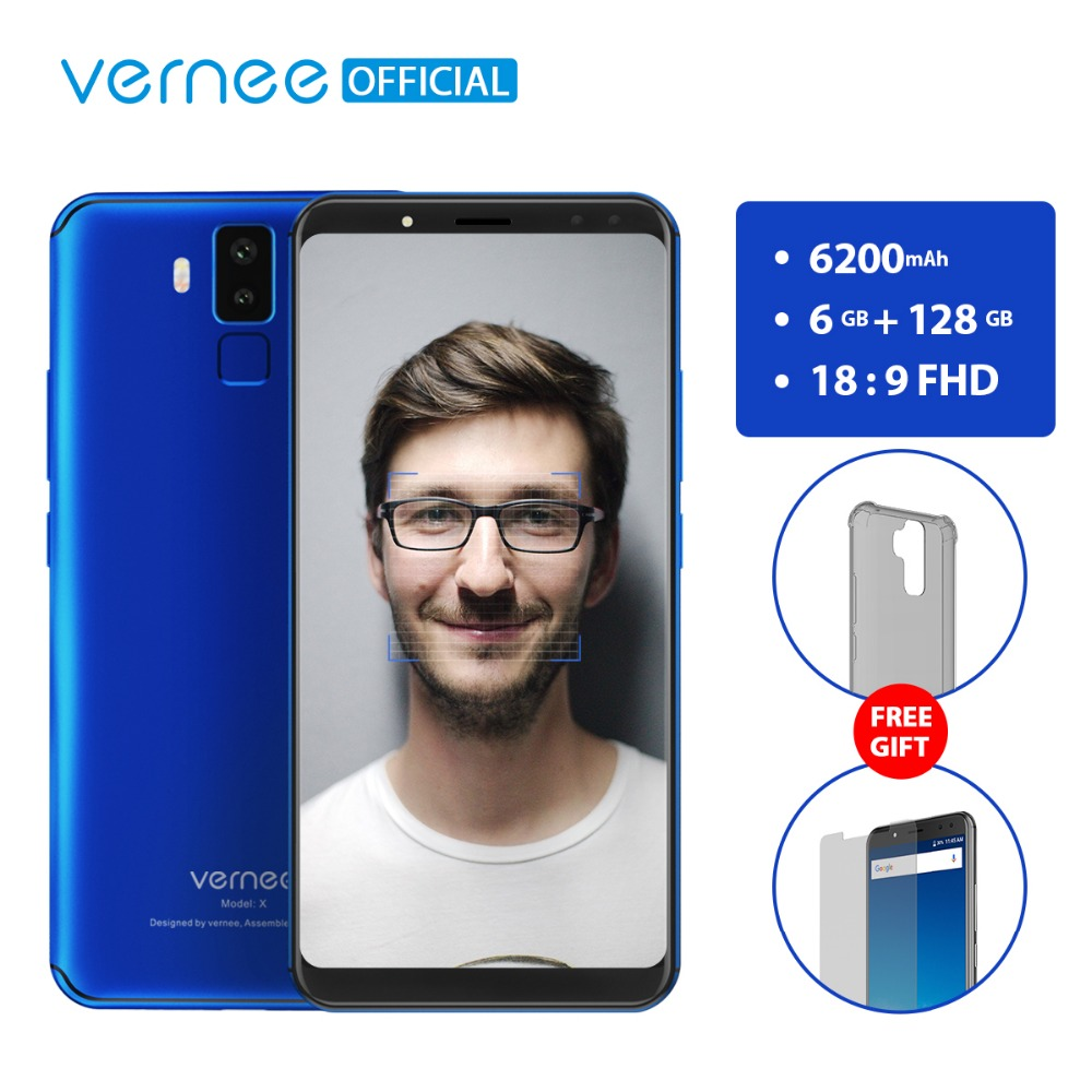 Vernee X 6 GB RAM 128 GB ROM Smartphone Gesicht ID Android 7.1 Octa-core 6,0 zoll 18:9 FHD 2160x1080 P Vier Kameras 6200 mAh Telefon