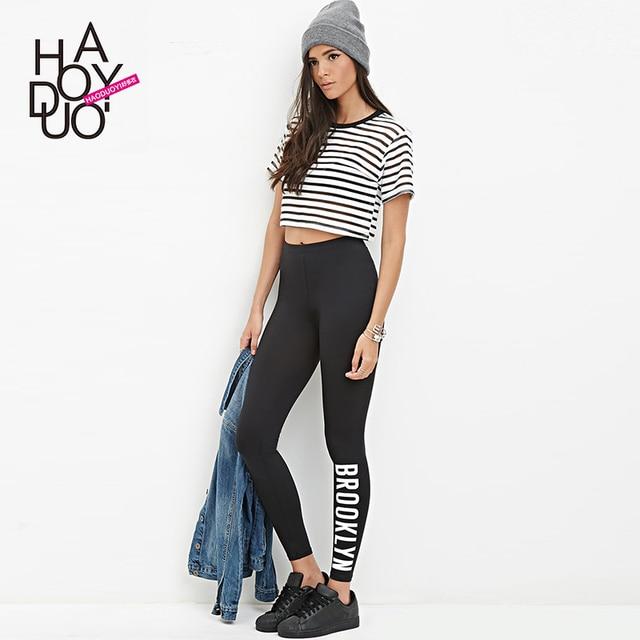 2016 summer letter print BROOKLYN elastical Waist Stretch black slim fitness Leggings for women