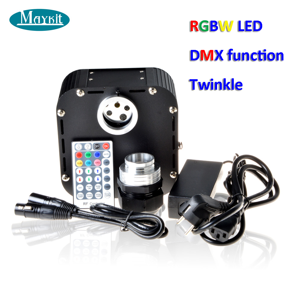 Maykit RGBW 50W LED Light Engine Twinkle Generator Optic Fiber Driver With DMX Function RF Remote Controller Shimmering Decor lea 501dmx 5w led light engine with remote controller with dmx function