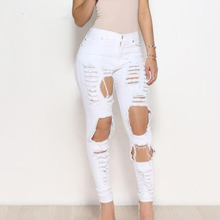 11.11 Sexy big holes ripped jeans tassels skinny high waisted pencil pants women trousers black white plus size womans feminino