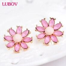 Unique Symmetrical Acrylic Opal Stone Stud Earrings Woman Personality Statement Flower Earrings Gift Jewelry for Girls