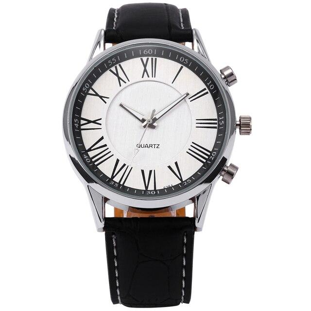 New Luxury Mens Faux Leather Analog Quartz Wrist Watch Black M3222