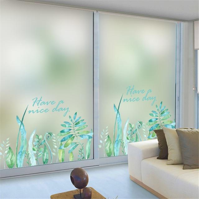 Flowers Green Leaves Home Bedroom Bathroom Window Sticker Glass Wall Film  Waterproof PVC Privacy Frosted Self