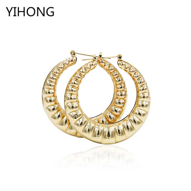 Big hoop earrings Basketball Wives fashion jewelry larger gold iron plate hoop women earrings in big sales promotion
