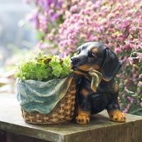 Lovely Cartoon Resin Shepherd Flowerpot Kawaii Dog Shaped Succulent Plants Decorative Flower Pot Planter For Home