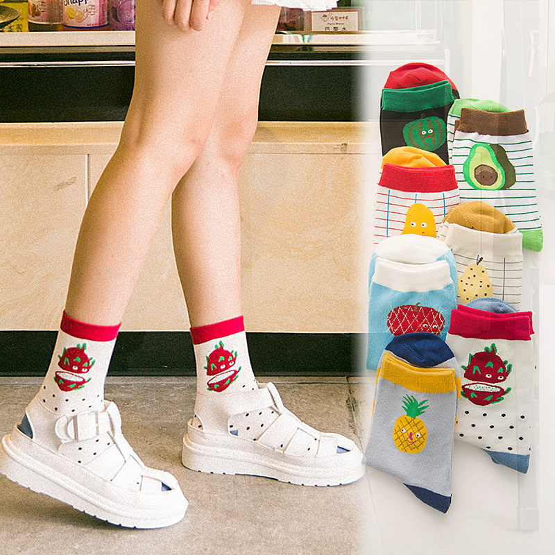Korean women's fashion fruit   socks   casual cotton avocado watermelon avocado pattern Harajuku style   socks   happy girl   socks