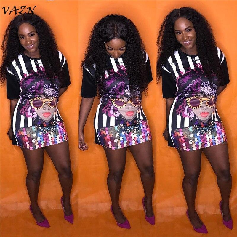 VAZN Special Design 2018 New Popular Sexy Style Women Dress Print O-neck Short Sleeve Bodycon Mini Dress Vestido JH010
