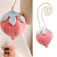 Kawaii Strawberry Cactus Mini Crossbody Bag Plush Sweet Lolita Shoulder Bag Gift