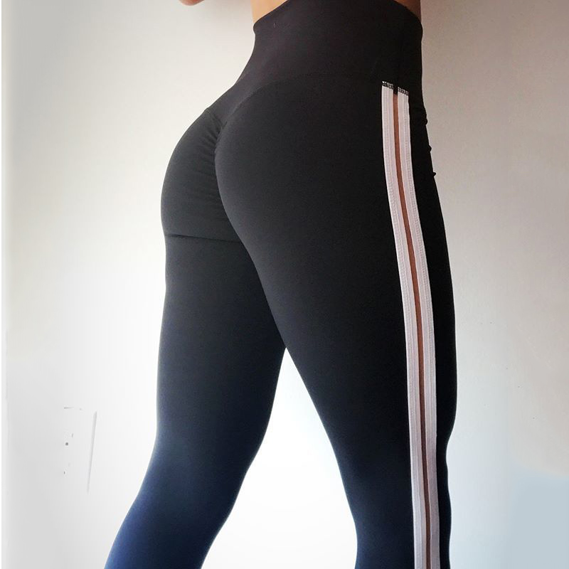 2018 New Pure Color Printed Elastic Waist Jeggings Hip Push Up Stretch Pants For Women High Waist Sexy Lady Fitness   Leggings