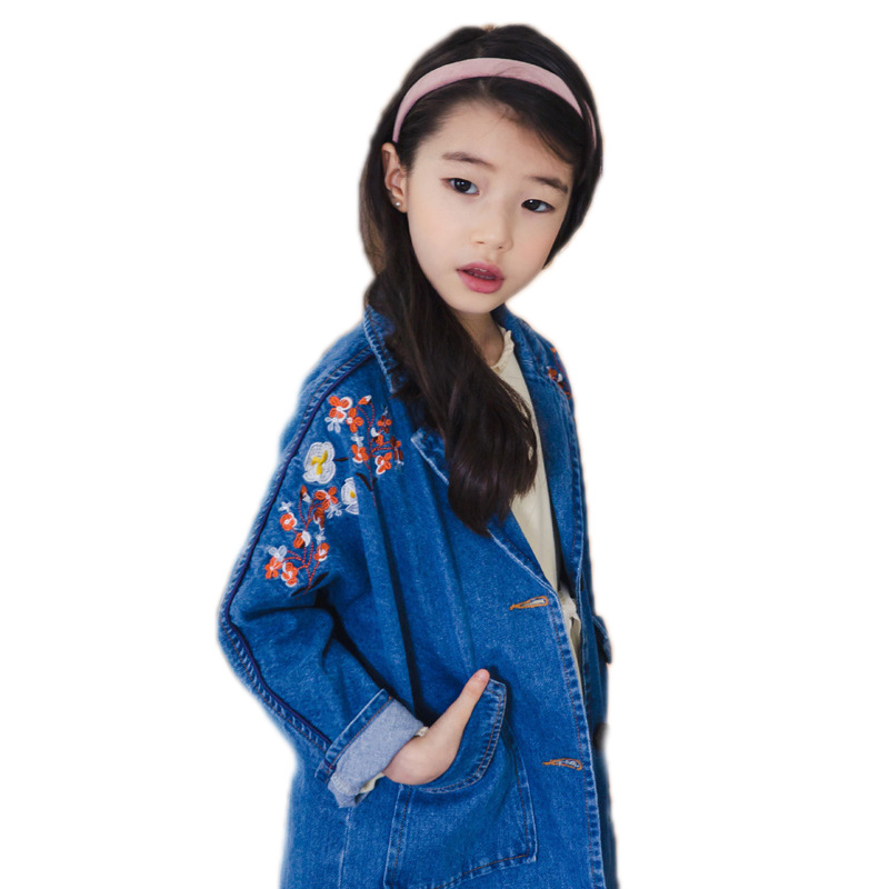 girls denim jackets 2018 new fashion spring children outwear floral embroidery girls jeans coats long section kids jackets 4-15T