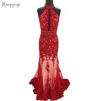 Long Evening Dress 2018 New Arrival Women High Neck Sleeveless Beaded Belt Red Lace Backless Formal Evening Gowns