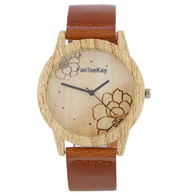 685c25132fd1 US $5.52 |Hot New Lotus Pattern Watch Imitation Wood Grain Leather Belt  Watch Ladies men Business Casual Watch Gift Watch-in Lover's Watches from  ...