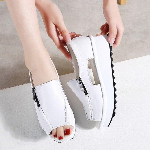 2019 letnie damskie sandały na platformie buty oryginalne skórzane damskie kliny sandały z odkrytymi palcami na zamek Sandalias buty dla kobiet 8332