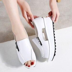Image 1 - 2019 קיץ נשים פלטפורמת סנדלי נעלי עור אמיתי גבירותיי טריזי סנדלי בוהן פתוח רוכסן Sandalias נעלי נשים 8332