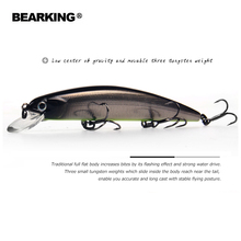 2018 Bearking Brand M109 Fishing Lures Minnow 11cm 17g quality Baits Deep Diving 1.5M Wobblers Fishing Tackles Free shipping