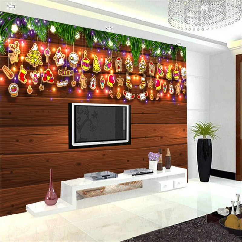 Christmas Decorations for Home Wooden Pine Branches Christmas Photo Wallpaper Bedroom for Study Bedroom TV Background Kitchen home for christmas