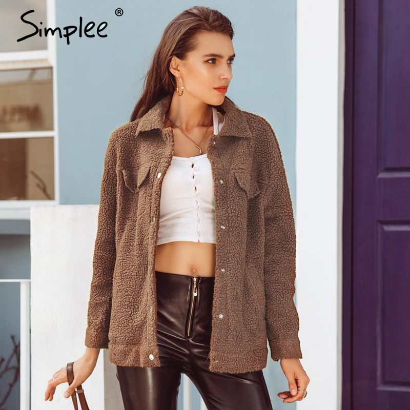 Simplee Faux fur turndown collar women winter coats Long sleeve button lambswool jackets Autumn casual warm streetwear overcoat