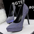 Sexy Pointed Toe Wedding Shoes New Arrival Korean Fashion Platform Sequined Cloth Shallow High Heels Shoes Women Pumps 6 Colors