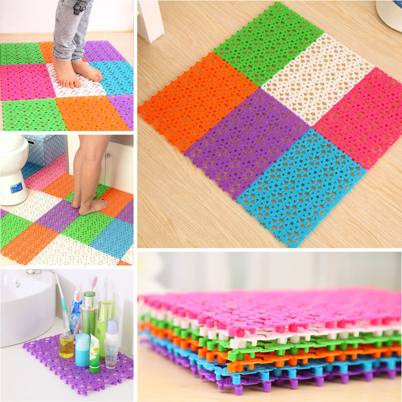 1 pcs plastic bathroom carpet splice non slip kitchen rugs solid bathroom shower rugs and carpets puzzle floor drain water mat in bath mats from home - Plastic Carpet Mat For Dining Room