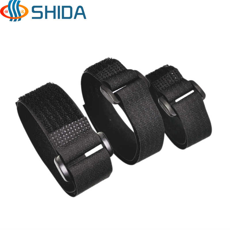 2.5cm Width 20 - 150 cm Reusable Magic Tape Straps Hook Loop Cable Ties with Plastic Buckles for Power Wire Management