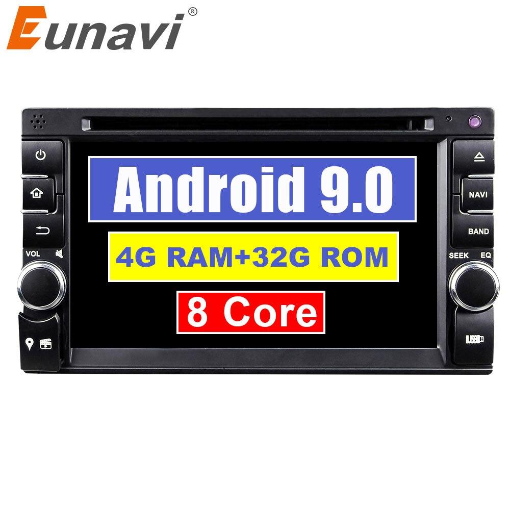 Eunavi 8 2 Din Android 9.0 Octa Núcleo tela de Toque Carro DVD Player Para Carro Universal Rádio Estéreo WIFI MP3 USB Bluetooth SWC RDS