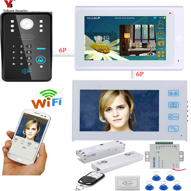 SmartYIBA APP Control RFID Video Intercom 2x 7 Inch LCD Wifi Wireless Video Door Phone Doorbell KIT+ Door Lock Exit Switch yobangsecurity wifi wireless video door phone doorbell camera system kit video door intercom with 7 inch monitor android ios app