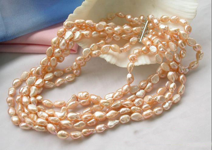 все цены на Pearl Necklace,6Rows 9-12mm Pink Baroque Freshwater Cultured Pearl Jewellery,Perfect Women Chirstmas Gift Jewelry онлайн