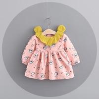 Autumn Long Sleeve Princess Infants Baby Kids Girls Infantil Tutu Printed Cartoon Bird Pleated Cute Party