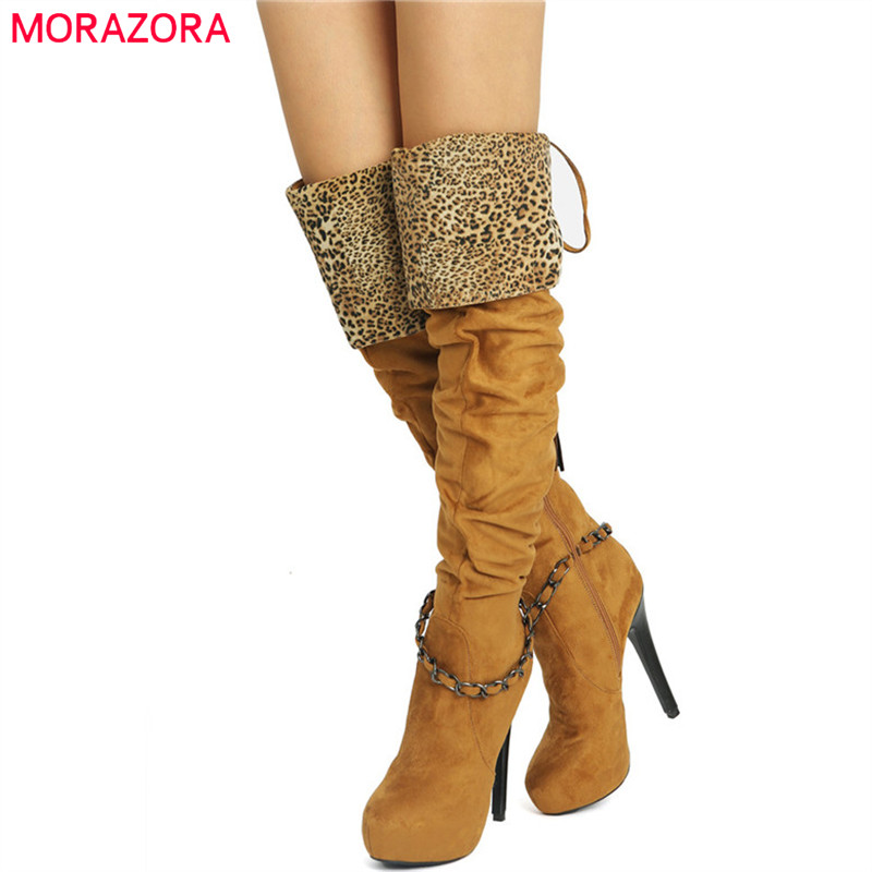 MORAZORA 2019 new arrival thigh high over the knee boots women flock round toe platform boots super high heels prom shoes woman MORAZORA 2019 new arrival thigh high over the knee boots women flock round toe platform boots super high heels prom shoes woman