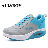 ALIBOY Outdoor Women Sport Running Shoes Breathable baskets femme Ladies Wedges sports Height Increasing woman sneakers 2017
