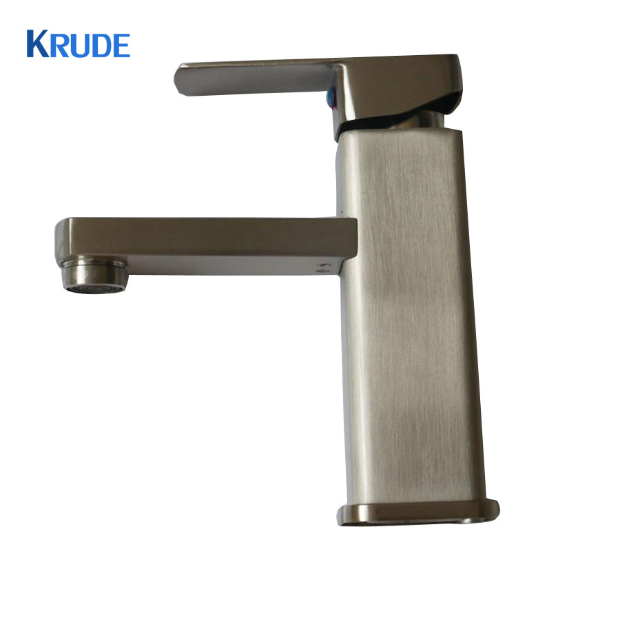 Deck Mounted Single Handle Basin Faucet Brushed Nickel Hot and Cold Water Mixer Tap Stainless Steel Bathroom Sink Faucet New bathroom sink faucet single handle mixer tap hot and cold water mixer tap nickel brushed