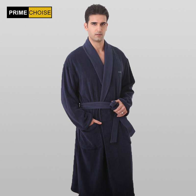Big Size Bathrobe Men Navy Blue Thick Robe Russia Size 100% Cotton Terry Bathrobe For Men(China)