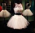 Corto atractivo de dos piezas piezas del Prom del vestido de bola de Puffy sin mangas del cordón del Top Prom vestidos con listones envío gratis EN234
