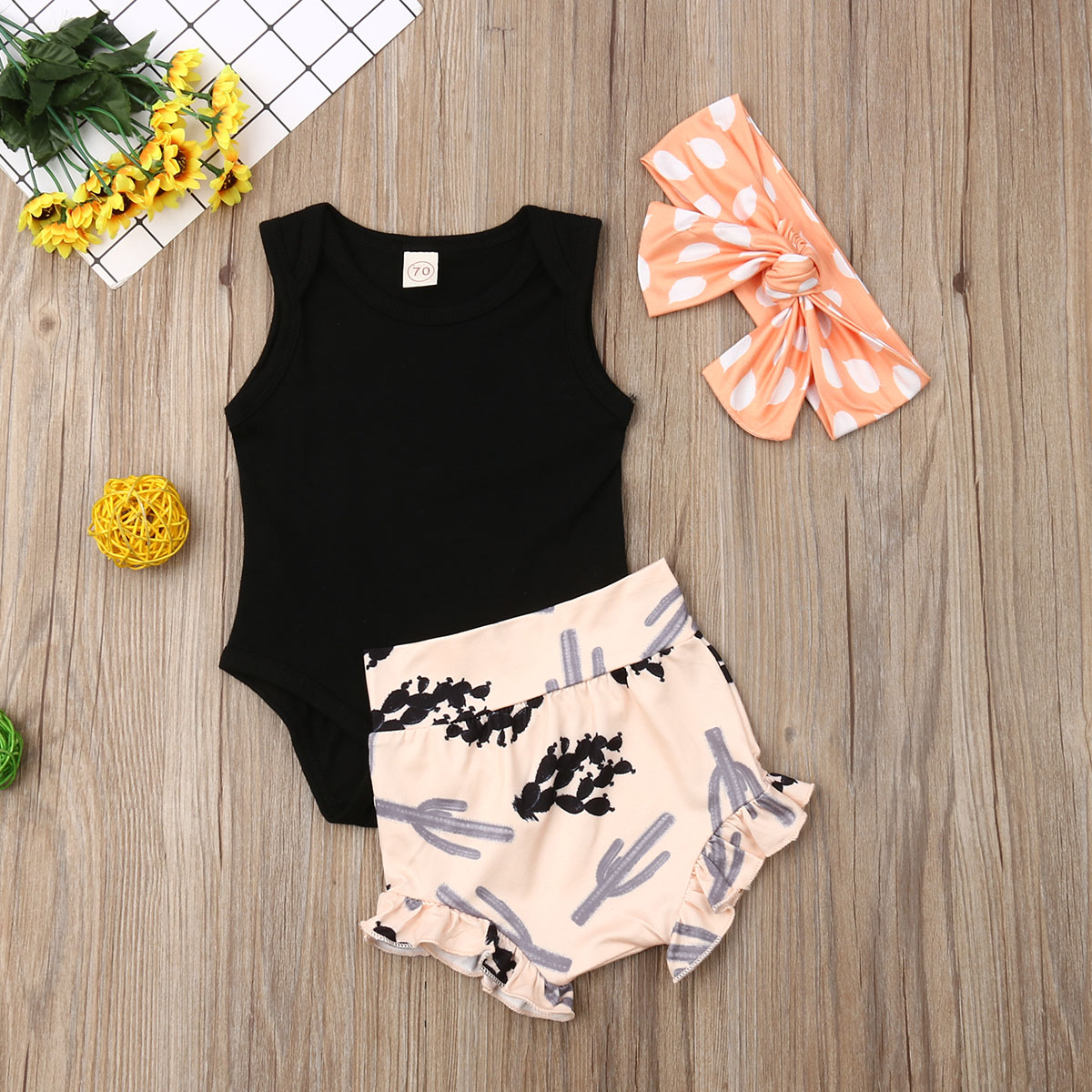 Pudcoco Newborn Baby Girl Clothes Sleeveless Solid Color Cotton Romper High Waist Shorts Headband 3Pcs Outfits Summer Clothes