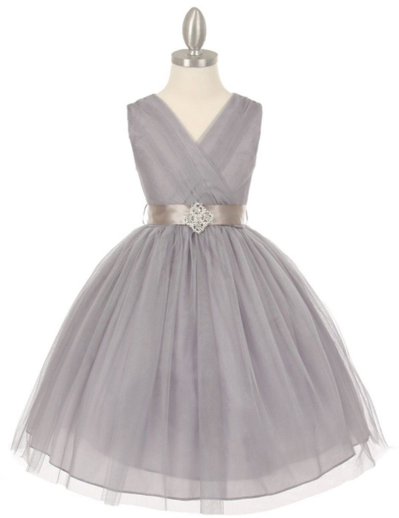 Real Picture V-Neck Ball Gown   Flower     Girls     Dresses   Floor Length With Crystal Ribbon Sash Chiffon Little   Girl   Party Gowns