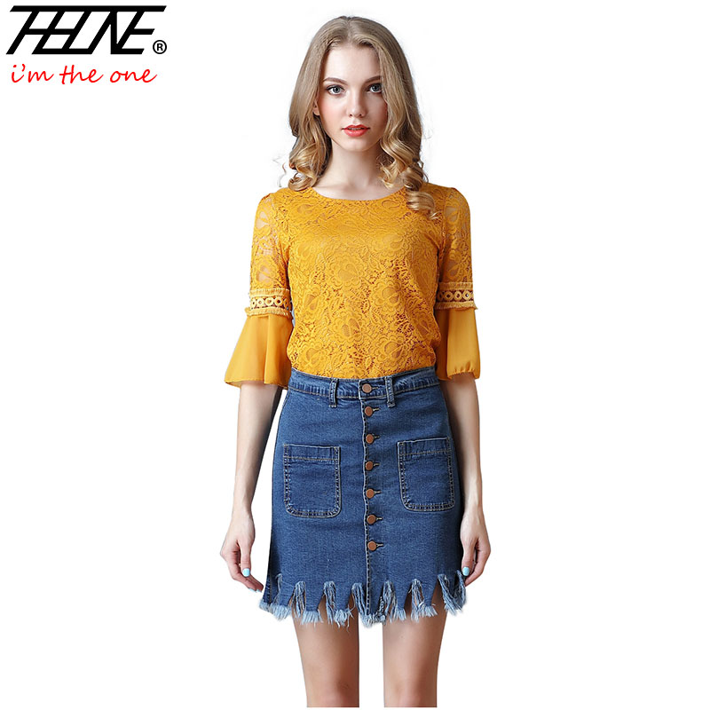 THHONE 2018 Denim Skirts Women Button Up Tassel High Fashion Pockets Design Sexy Short Casual Ripped Women's Mini Jeans Skirts