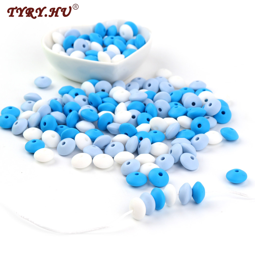 TYRY.HU 50pc Silicone Baby Teething Bead 12mm Lentil Abacus Pearl Beads DIY Beads For Necklace Bracelet Jewelry Making Chew Toys