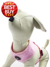 BB5031 Free Shipping Soft dots Pet Puppy Dog Cat Cotton Padded Harness with crown Label Adjustable Vest