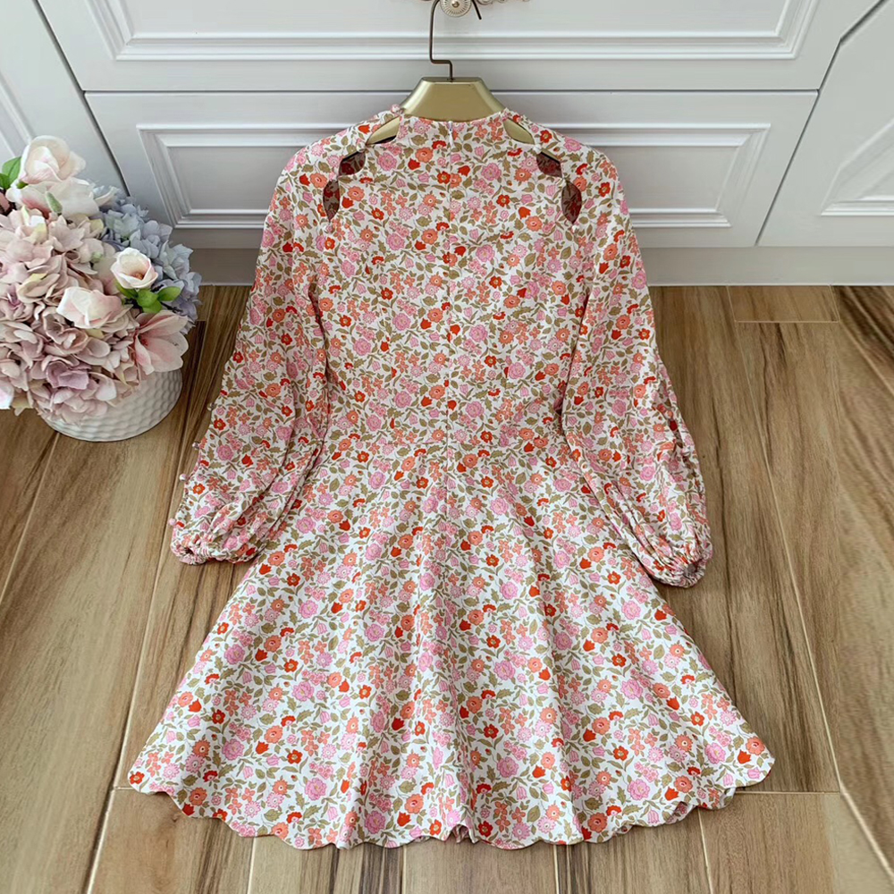Baogarret Designer Women Flower Print Sexy Hollow Out Luxury Button Autumn Dress Long Lantern Sleeve Holiday Linen Vestidos in Dresses from Women 39 s Clothing