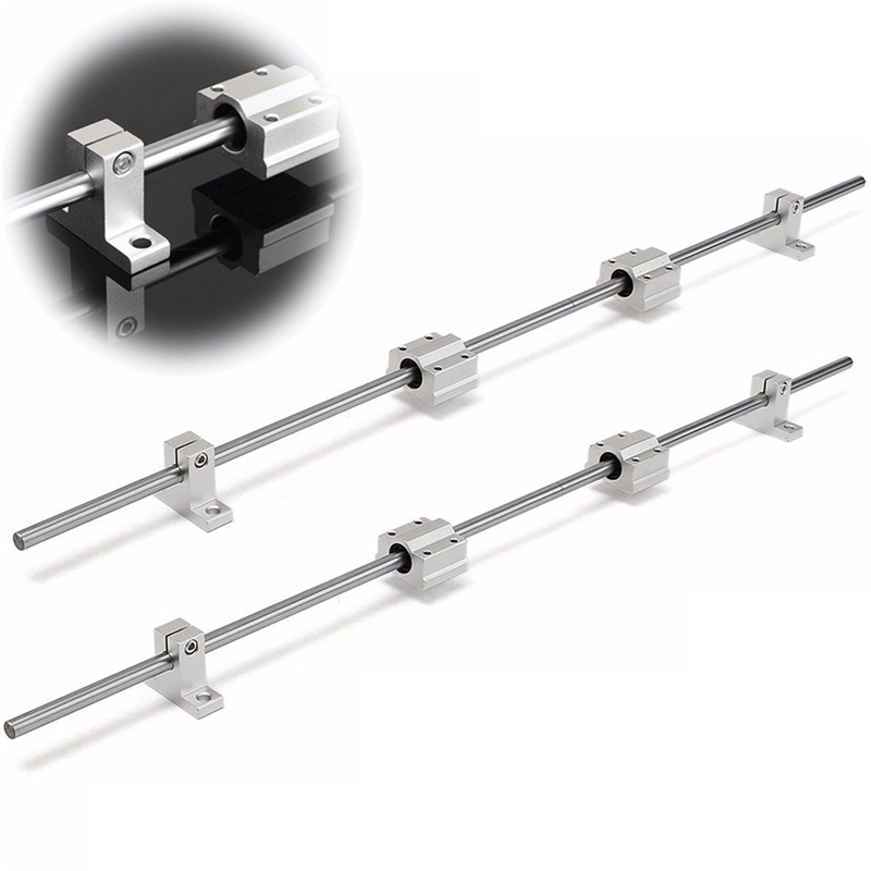10Pcs/set 8mm Diameter 200-800mm Linear Rail Shaft Rod With Bearing Guide Support And SCS8UU Bearing Block CNC Parts